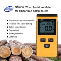 medidor de humedad higrómetro al por mayor-Medidor de humedad de madera Gm630 Pantalla LCD digital Prueba de humedad Medidor de contenido de agua Detector de densidad Higrómetro Vochtmeter