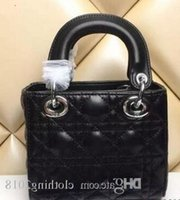 Wholesale women celebrity totes resale online - 2019 High Quality Celebrity Design Lady Mini Plaid Handbag Patent Leather Rivets Tote Bag With Charms Lambskin Miss Bag