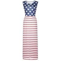 империя талия плиссированные платья оптовых-Женское платье с цветочным принтом Карманы с длинным рукавом Американский флаг Empire Waist Плиссированное длинное платье макси robe femme