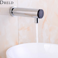 Wholesale brass wall mounted tap resale online - Automatic Sensor Faucet Bathroom Sense Faucet Hand Touchless Sensor Tap Hot Cold Water Mixer Brass Chrome Wall Mounted