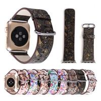 correa de reloj de cuero flor al por mayor-Pulsera de cuero con estampado floral para Apple Watch Band 42mm 38mm Correa de reloj para iWatch Series 4 3 Correa Mujer