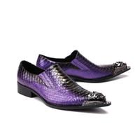 mocasines morados al por mayor-2018 Zapatos italianos Hombres Cuero Púrpura Marrón Colores Tacones altos Oxfords Piel de serpiente Punta puntiaguda Vestido burdeos Mocasines