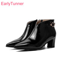 Wholesale sexy glossy dress resale online - 2019 Winter New Glossy Black Apricot Women Ankle Dress Boots Sexy High Heels Lady Shoes EA105 Plus Big Small Size