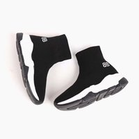 Wholesale fashion shoes for girls children resale online - Black boy sport run shoes for kid fashion youth boy shoe Eu red green colors child girl slip on hiking shoe sneakers