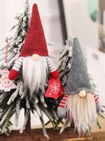 adornos de elfo al por mayor-Navidad hecha a mano sueca Gnomo escandinavo Tomte de Santa Nisse nórdica felpa Elf juguete tabla del ornamento del árbol de Navidad Decoración JK1910