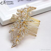 parlak altın saç aksesuarları toptan satış-Kristalleri ile Zarif Altın Gelin Saç Combs Parlak Boncuk Gelinler Düğün Saç Aksesuarları headdress için Tokalar