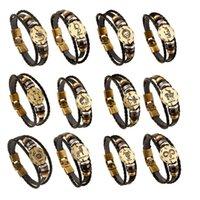 zodiac sign bracelets großhandel-12 Konstellationen Armband 2018 Neue Modeschmuck Lederarmband Männer Casual Persönlichkeit Tierkreiszeichen Punk Großhandel