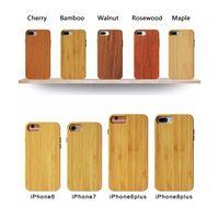 ingrosso cassa in legno naturale-Casi di telefono di bambù di legno naturale ecologici Casi di paraurti a scatto TPU leggeri Custodie posteriori ibride sottili per iPhone e Samsung Galaxy