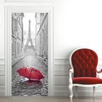ingrosso murales uniche-cariel new parigi torre eiffel porta wall sticker grafico unico murale cosplay regali per soggiorno decorazione della casa della decalcomania del pvc carta WN648B