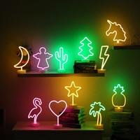 signos de navidad al por mayor-Rainbow LED Neon Light Sign Holiday Xmas Party Wedding Decorations Habitación para niños Decoración para el hogar Flamingo Moon Unicorn Neon Lamp