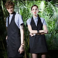 Wholesale home shopping dress for sale - Group buy Black Long Restaurant Kitchen Cooking Chef Apron With Pockets Woman Men Nail Work Coffee Shop Apron Dress For Household Home