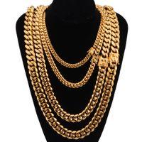 goldene ketten großhandel-Mode Männer Hip hop kette halskette Edelstahl 8-18mm breite / 20-30 zoll lange Miami Cuban Chains halskette herren Hiphop schmuck