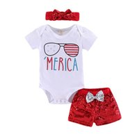 bogen für gläser groihandel-Baby Mädchen Brief Strampler amerikanische Flagge Unabhängigkeit Nationalfeiertag USA 4. Juli Stern Brief Brille Print Top Pailletten Shorts Bogen mit Stirnband