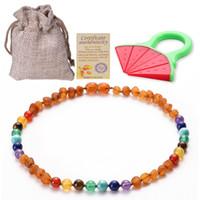 ingrosso gioielli gia-Collana di dentizione dell'ambra baltica per i bambini Chakra e Ambers Bead Handmade-Teething sollievo dal dolore GIA certificati gioielli naturali