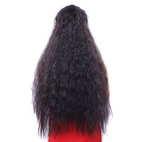 peluca de pelo rizado para cola de caballo al por mayor-Pelucas sintéticas Cola de caballo Plus Long mullido rollo de maíz caliente Grab Cola de caballo larga peluca de pelo rizado cola de potro de 65 cm 26 pulgadas