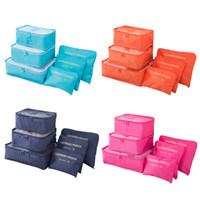 ingrosso borse da imballaggio per vestiti-6pcs / set Bagagli Pack Organizer Set Nylon Packing Cube Borsa da viaggio System Durevole Unisex Abbigliamento Ordinamento Organizzare