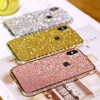 iphone bumper bling crystal al por mayor-Lujo Bling Diamond Bumper para Iphone XS XR XSMAX 7 8 6 plus pulgadas Funda Moda Crystal Rhinestone Sanke Inlay Metal Frame Glitter