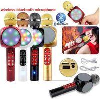 karaoke oyuncak toptan satış-Kablosuz Bluetooth Mikrofon WS1816 LED El Karaoke Müzik Hoparlör Kondenser Mikrofon Mic USB Ev KTV Noel Oyuncak OOA6318