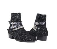 плоские пиратские ботинки оптовых-Мужская модная одежда Wyatt Harness Ботинки челси Бандана Slp Замшевые бандана Ремешок с пряжкой Ботильоны Kanye West Shoes