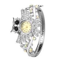 coruja relógio mulher venda por atacado-Relógios de senhora Skmei Montre Homme reloj inteligente europeu e americano New Moda Feminina Watch coruja diamante # 50