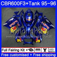 carenado azul amarillo al por mayor-+ Depósito para HONDA CBR600FS CBR600RR CBR600 F3 1995 1996 Cuerpo Azul amarillo rojo caliente 289HM.78 CBR 600 F3 FS CBR 600F3 95 96 CBR600F3 95 96 Carenado