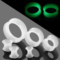 Wholesale flesh tunnel silicone resale online - 2pcs Silicone Flexible Glow in the Dark Ear Tunnels Plug Piercings Hollow Ear Flesh Gauges Reamer Expander Piercings Jewelry