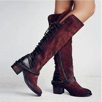vaquero australia al por mayor-Vintage Bota invierno de las mujeres sobre la rodilla botas altas de vaquero de cuero botines de tacón alto Australia Martin botas de diseño Tamaño de los zapatos 35-43