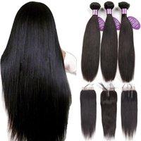 peruvian remy saç paketi toptan satış-Queenlike Perulu Saç Demetleri Ile Kapatma Olmayan Remy Atkı 100% İnsan Saç 3 Paketler Düz Saç Demetleri Ile Kapatma