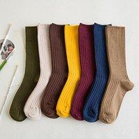 chaussettes longues achat en gros de-15 paires / pack Harajuku lycéennes filles rayées longues chaussettes superposées en vrac solide double aiguille à tricoter coton étudiants chaussettes femmes