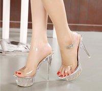 taille 14 talons achat en gros de-Nouvelles sandales à la mode, chaussures décontractées, hauteur du talon 14 cm. chaussures de mariage argent diamant chaussures a talons hauts chaussures grande taille 35-43, e18