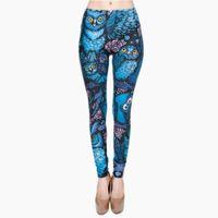 búhos leggings al por mayor-Nuevo Hot Night Owl Pantalones de impresión completa Ropa de mujer Damas Fitness Legging Pantalones elásticos Leggings pitillo