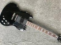 guitarra 24 al por mayor-Calidad superior Custom 24 trastes Diapasón de palisandro Guitarra eléctrica Tony Iommi Signature SG con pastillas activas Laca negra