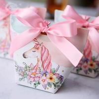 papiertüte hochzeitsbevorzugungen großhandel-Kreative Europäische Cartoon Einhorn / Flamingos Süßigkeitskästen Hochzeit Gefälligkeiten Bomboniera Party Geschenk Box Papier Paket Süßigkeitstasche 30 stücke
