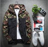 fermuar kapüşonlu ceket askeri toptan satış-Erkekler Bombacı Ceket Ince Ince Uzun Kollu Kamuflaj Askeri Ceketler Kapşonlu 2019 Rüzgarlık Fermuar Giyim Ordu Marka Giyim