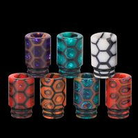 Wholesale honeycomb materials resale online - Trinity Alpha Drip Tip for Pod Kit Epoxy Resin Material Thread Vape Snakeskin Honeycomb Cobra Mouthpiece Cartridge Cover DHL