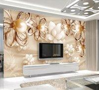wallpaper für hotelzimmer großhandel-European Style Golden Pearl Blumen 3D Wallpaper Wohnzimmer TV Hotel Luxus Fototapete Qualitäts-Innendekor-Fresko
