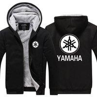 yamaha logo großhandel-Wintermantel Herren lässig dicke warme Kapuzenpullis Baumwolljacke lässig roter Druck für YAMAHA Moto Logo Motorrad Racing Sweatshirts S