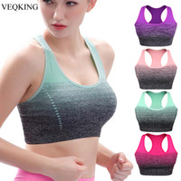 Wholesale sports bras for running resale online - VEQKING Gradient High Stretch Sports Bra for Women Quick Dry Padded HBack Sports Top Seamless Yoga Running Fitness Sport Bra