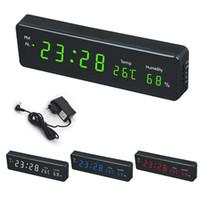 большие цифровые часы оптовых-Цифровые настенные часы Big LED Time Календарь температуры и влажности Дисплей стол стол Часы электронные светодиодные настенные часы Decor ЕС Plug