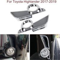 lumières de montagne achat en gros de-2x Châssis de cadre de lampe de feu antibrouillard avant chromé pour Toyota Highlander 2017-2019