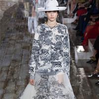 ingrosso donne di stampa animale-Maglione di design della passerella 2019 Vintage Animal Print O-Collo Pullover allentato maglione a maniche lunghe maglia maglione donne