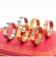 Wholesale men rings for sale - Group buy new Cartier wide version of the classic diamond nail ring Titanium steel men and women ring k rose gold couple ring with Original box