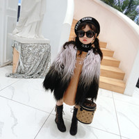 Wholesale baby clothing 18 24 months for sale - Group buy Winter warm girls fur jacket kids designer coat children outwear baby clothes thick velvet gradient faux fur tassel to yrs