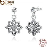 çiçek motifleri toptan satış-Bamoer Vintage 925 Ayar Gümüş Dantel Botanique, Temizle Cz Çiçek Motif Bırak Küpe Kadınlar Takı Için Pas432 C19041101