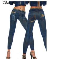 гетры высокого качества женские оптовых-Sunfree 2017 Hot Sale Womens Denim Leopard Print Skinny Stretch Sexy Pants Soft Tights Leggings  New High Quality Dec 7