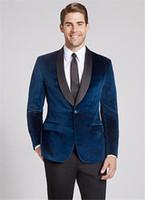 одежда для жениха оптовых-Modern Navy Blue Velvet Shawl Lapel Men Suit 2019 Latest Coat Pant Designs Formal Slim Fit Wedding Clothes Bridegroom man suits