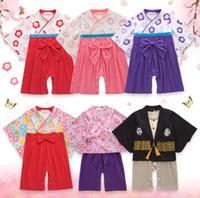 erkek çocuk atakları toptan satış-Japon Tırmanma Baskılı Kimono Kızlar Yaz Uzun kollu Üniforma Elbise ile Kelebek Knot bebek erkek kız pijama 1-3 yıl süveter