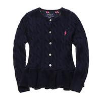 cardigans de punto para las niñas al por mayor-Nueva ropa de otoño para niños Cute Pink Knit Flouncing Sweater Kids Girls Cardigan 2019 para Niños Ropa P olo Girl Sweater Top