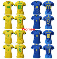 brazil dünya kupası futbol topları toptan satış-Lady Milli Takımı Brezilya Kadınlar Forması Futbol 2019 Dünya Kupası COUTINHO İSA MARCELO SILVA CASEMIRO FIRMINO Kadın Futbol Gömlek Kitleri Brasil