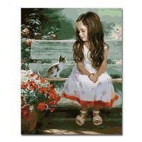 toile à l'huile de filles achat en gros de-chat huile WEEN Fille Avec Chat Abstrait Diy Numérique Beauté Huile Peinture Par Numéros Figure Moderne Mur Art Photo Pour